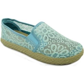 Zapatos Mujer Alpargatas Espargatas Cool Flowers LT.Blue
