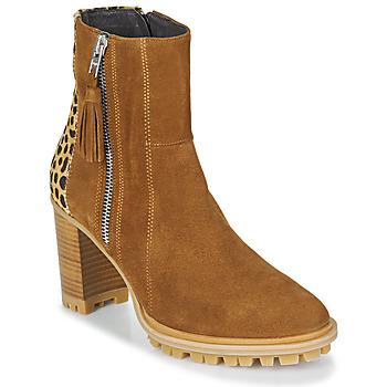 Zapatos Mujer Botines Philippe Morvan LOKS V1 VELOURS CAMEL/LEOP Marrón / Leopardo