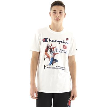 textil Hombre Camisetas manga corta Champion Camiseta  cuello caja hombre Blanco