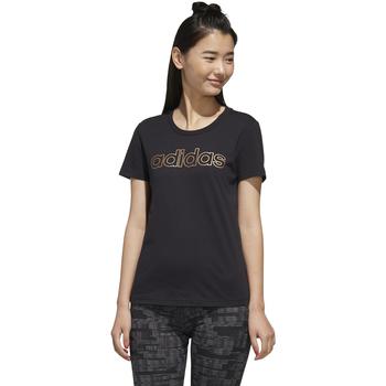 textil Mujer camisetas manga corta Adidas Performace CAMISETA ADIDAS W E BRANDED T Negro