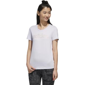 textil Mujer camisetas manga corta Adidas Performace CAMISETA ADIAS W E BRANDED T Púrpura