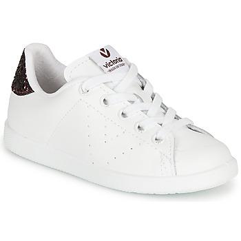 Zapatos Niña Zapatillas bajas Victoria TENIS PIEL Blanco / Burdeo