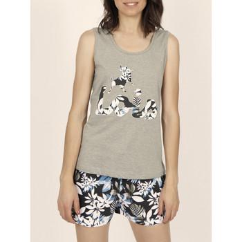 textil Mujer Camisetas sin mangas Admas Pijama corto con camiseta de tirantes Lois Jungle khaki Lavanda