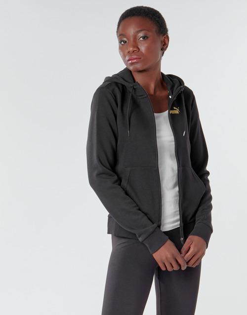 textil Mujer Chaquetas de deporte Puma METALLIC FZ HOODY TR Negro / Dorado