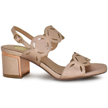 Zapatos Mujer Sandalias Exé Shoes SANDALIA TACÓN BAJO TIRAS CIRCULARES CHAMPAGNE ISABEL-570 Color Champagne