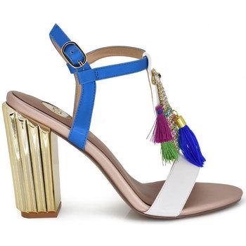 Zapatos Mujer Sandalias Exé Shoes SANDALIA TACÓN BORLAS WHITE MONA-555 Color Blanco