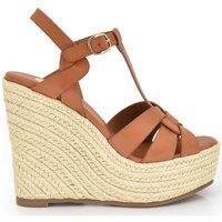 Zapatos Mujer Alpargatas Exé Shoes CUÑA DE ESPARTO TIRAS MARRONES NAOMI-788 Color Marrón