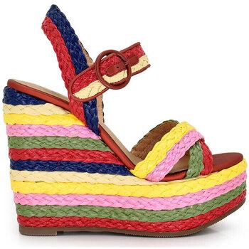 Zapatos Mujer Sandalias Exé Shoes SANDALIA CUÑA ESPARTO MULTICOLOR ROSA-477 Color Multicolor