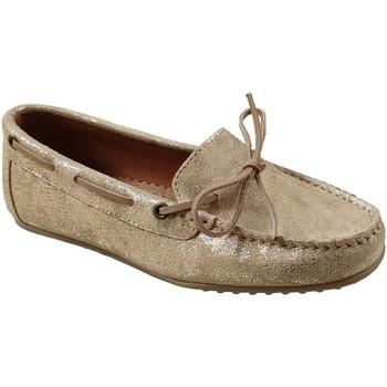 Zapatos Mujer Mocasín Moc's 19j084 Cuero beige/oro