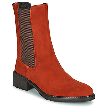 Zapatos Mujer Botas de caña baja Regard DAMGAN V2 VELOURS CHATAIGNE Rojo