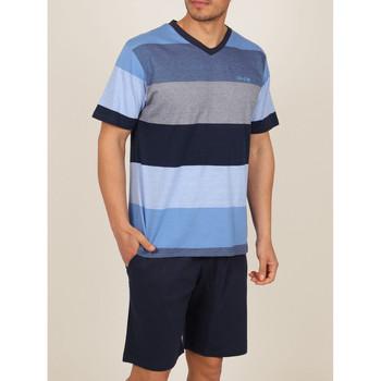 textil Hombre Pijama Admas For Men Ropa interior camiseta de pijamas cortos Stay Stripes azul Azul