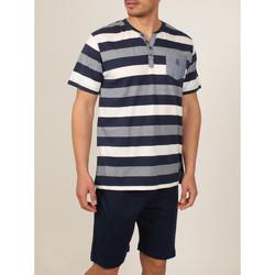 textil Hombre Pijama Admas For Men Camiseta de pijamas cortos camiseta azul Grecia Admas Azul