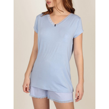 textil Mujer Pijama Admas Fresco y suave  Camiseta de pijamas cortos Azul