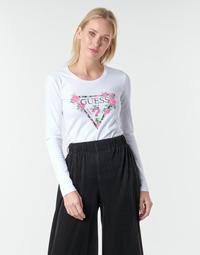 textil Mujer Camisetas manga larga Guess LS CN VILMA TEE Blanco