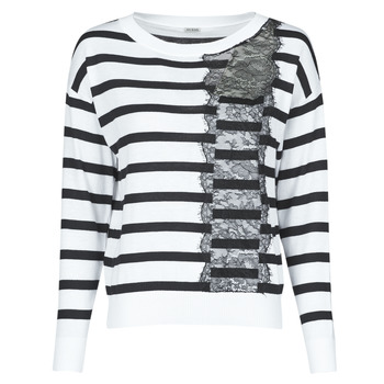 textil Mujer Jerséis Guess MARIA RN LS SWTR Blanco / Negro