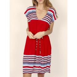 textil Mujer vestidos cortos Admas Elegante vestido de verano mangas cortas rayas rojas Arena