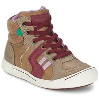 Zapatos Niña Zapatillas altas Kickers ZIGUERS Beige / Burdeo