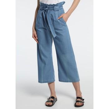 textil Mujer Pantalones fluidos Lois pantalon cinturon dael jinx bleu clair 206902042 Azul