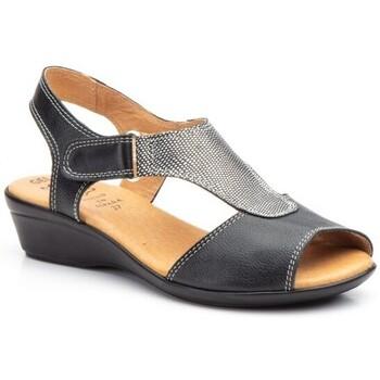 Zapatos Mujer Sandalias Cbp - Conbuenpie Sandalias con cuña de piel by CBP Noir