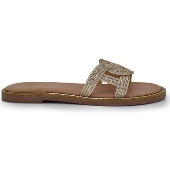 Zapatos Mujer Zuecos (Mules) Exé Shoes SANDALIA PLANA GOLD TIRA ALLISON-139 Color Gold
