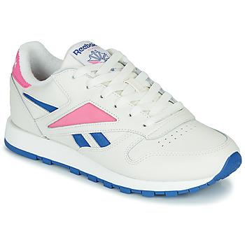 Zapatos Zapatillas bajas Reebok Classic CL LEATHER MARK Blanco / Rosa