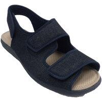 Zapatos Hombre Pantuflas Calzamur Zapatillas hombre abiertas con 3 velcros azul