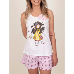 textil Mujer Pijama Admas Pantalones cortos de pijama sin mangas Primavera al fin Blanco