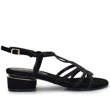 Zapatos Mujer Sandalias Exé Shoes SANDALIA TACÓN BAJO BLACK CON BRILLO 8732-2 Color Negro