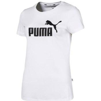 textil Mujer Camisetas manga corta Puma Ess Logo Tee Blanco