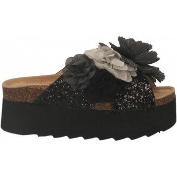 Zapatos Mujer Zuecos (Mules) Colors of California HIGH SOLE BIO MAXI FLOWER black