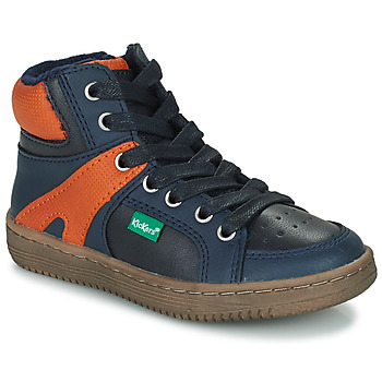 Zapatos Niño Zapatillas altas Kickers Lowell Marino / Naranja
