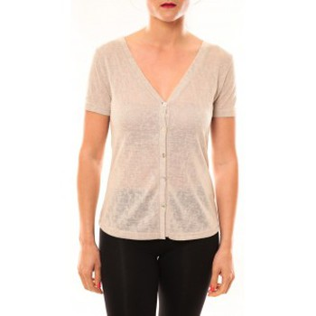 textil Mujer Camisetas manga corta Meisïe Top 50-608SP14 Beige Beige