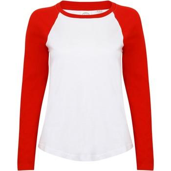 textil Mujer Camisetas manga larga Skinni Fit SK271 Blanco/Rojo