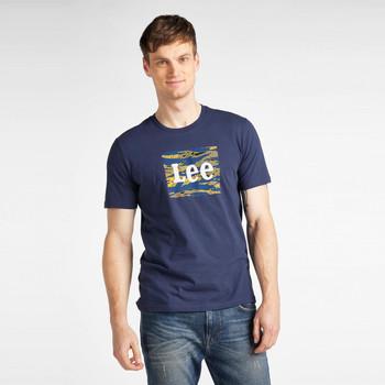 textil Hombre Camisetas manga corta Lee T-shirt  Camo Package Dark Navy bleu marine/jaune/blanc
