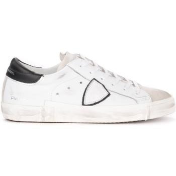 Zapatos Hombre Zapatillas bajas Philippe Model Zapatilla Paris X de piel blanca con alerón negro Blanco