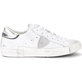 Zapatos Mujer Zapatillas bajas Philippe Model Zapatilla Paris X de piel blanca con alerón plata Blanco
