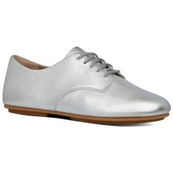 Zapatos Mujer Derbie FitFlop ADEOLA LEATHER LACE UP DERBYS - SILVER SILVER