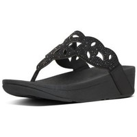 Zapatos Mujer Chanclas FitFlop ELORA CRYSTAL TOE THONGS - ALL BLACK ALL BLACK