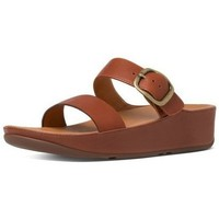 Zapatos Mujer Zuecos (Mules) FitFlop STACK TM SLIDE - DARK TAN LEATHER DARK TAN LEATHER