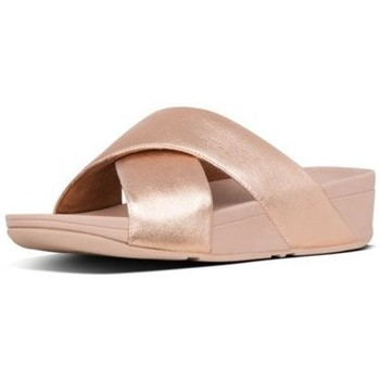 Zapatos Mujer Zuecos (Mules) FitFlop LULU CROSS SLIDE SANDALS LEATHER - ROSE GOLD ROSE GOLD