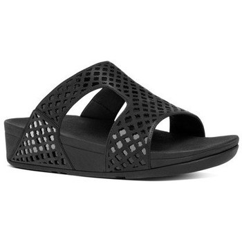 Zapatos Mujer Zuecos (Mules) FitFlop SAFI TM SLIDE - ALL BLACK LEATHER ALL BLACK LEATHER