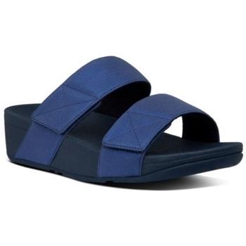 Zapatos Mujer Zuecos (Mules) FitFlop MINA SHIMMER SLIDES - MIDNIGHT NAVY MIDNIGHT NAVY