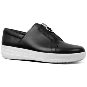 Zapatos Mujer Slip on FitFlop NEW ZIP SNEAKER LEATHER - BLACK BLACK