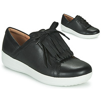 Zapatos Mujer Zapatillas bajas FitFlop F-SPORTY II LACE UP FRINGE SNEAKERS - LEATHER Negro