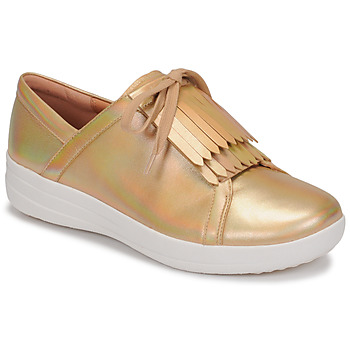 Zapatos Mujer Zapatillas bajas FitFlop F-SPORTY II LACE UP FRINGE SNEAKERS-IRIDESCENT LTR Oro