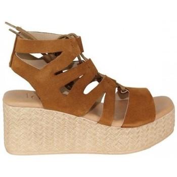 Zapatos Mujer Sandalias Lolas SANDALIA ACORDONADA EN CUÑA CORCHO Beige