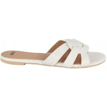 Zapatos Mujer Zuecos (Mules) Dada PALA CRUZADA EN GRABADO COCO Blanco