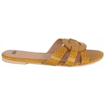 Zapatos Mujer Zuecos (Mules) Dada PALA CRUZADA EN GRABADO COCO Amarillo