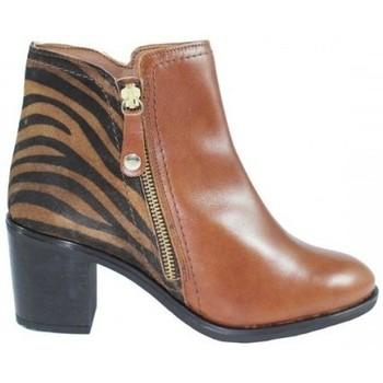 Zapatos Mujer Botines Lolas BOTIN CON CREMALLERA LATERAL COMBINADO PRINT CEBRA Multicolor