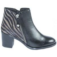 Zapatos Mujer Botines Lolas BOTIN CON CREMALLERA LATERAL COMBINADO PRINT CEBRA Negro